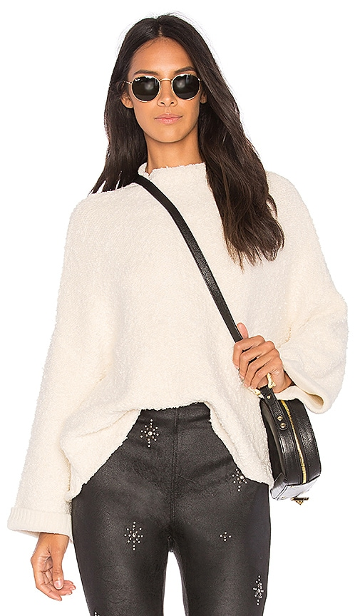 Free People Cuddle Up Pullover Sweater in Ivory