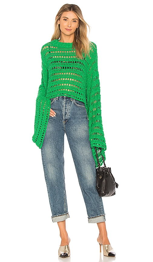 Free People Caught Up Crochet Top in Green