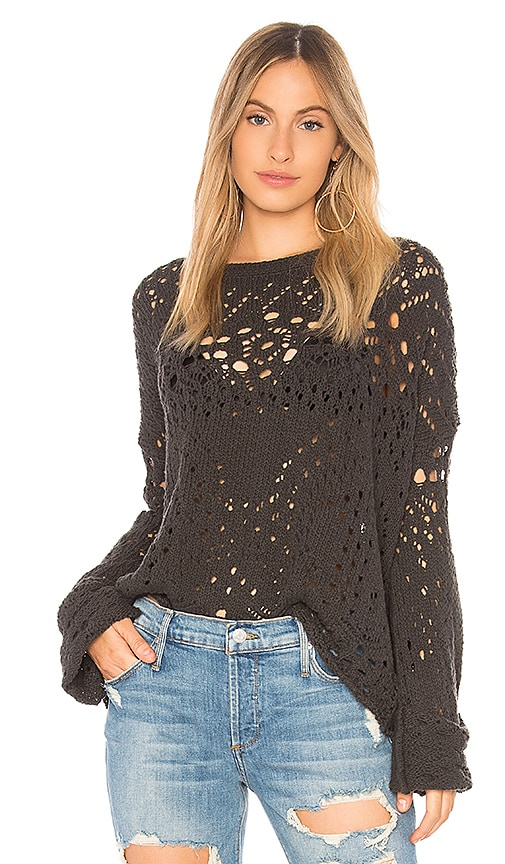 Free People Traveling Lace Sweater in Black