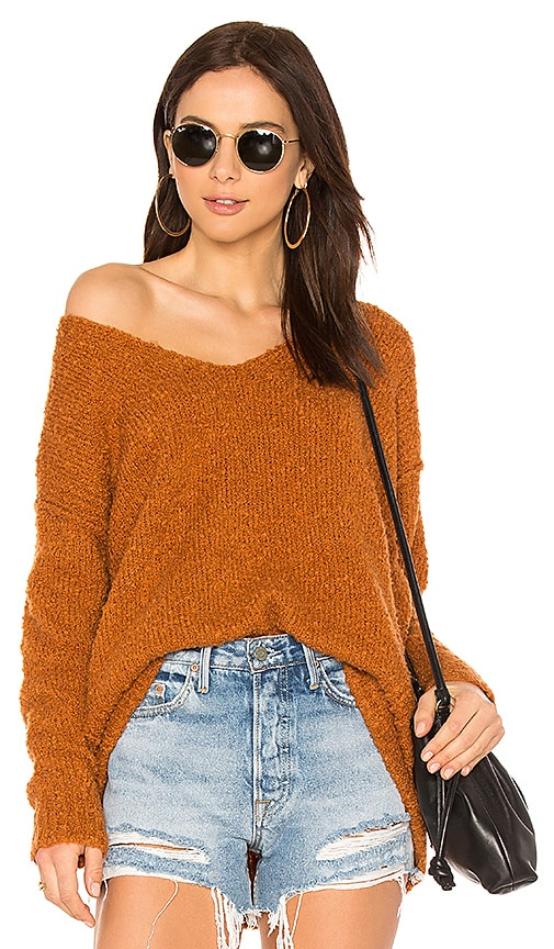 Free People Lofty V Neck Sweater in Burnt Orange