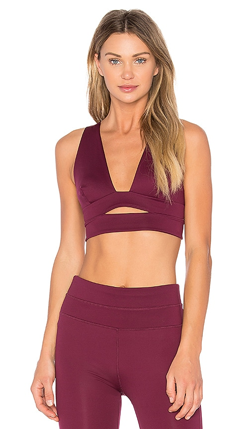 Free People B Natural City Slicker Sports Bra in Burgundy
