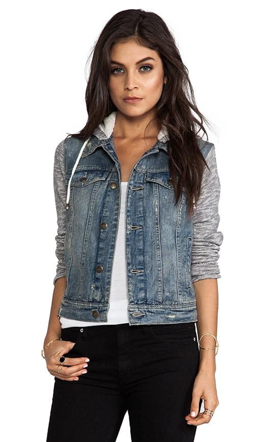 Denim/Knit Hoodie Jacket
