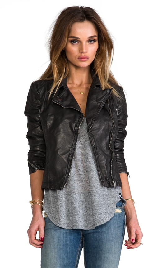 Peplum Vegan Leather Jacket