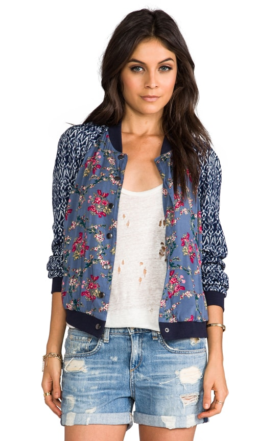 Floral Printed Baseball Jacket