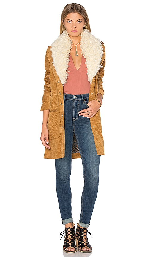Free People Lady Lane Faux Fur Collar Jacket in Tan