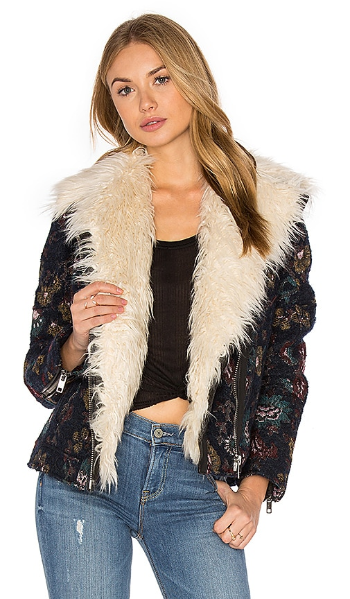 Free People Jaquard Wool & Faux Fur Jacket in Blue