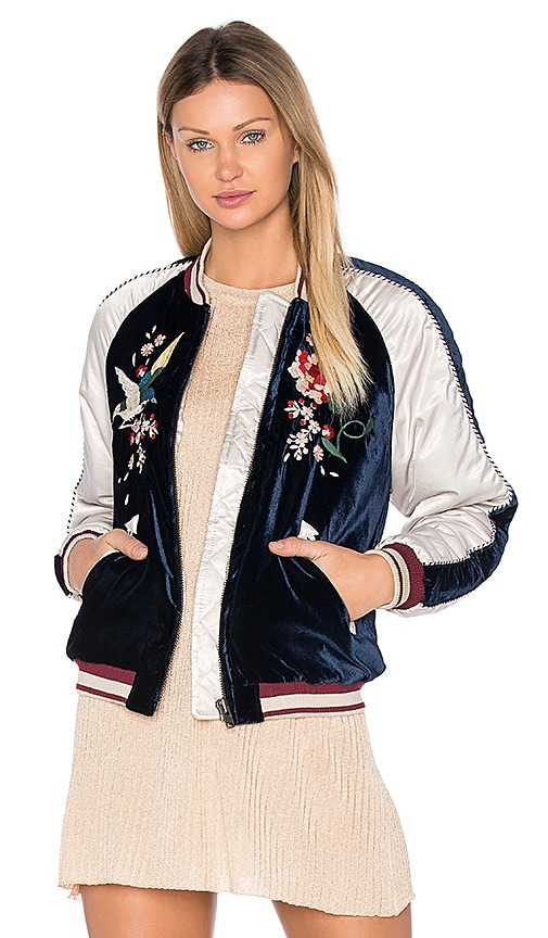 Free People Floral Embroidered Bomber in Navy