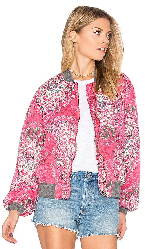 Free People Printed Bomber in Pink