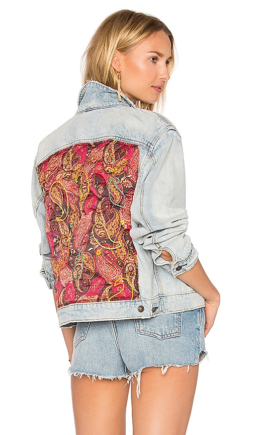 Free People Paisley Quilted Denim Jacket in Light Denim