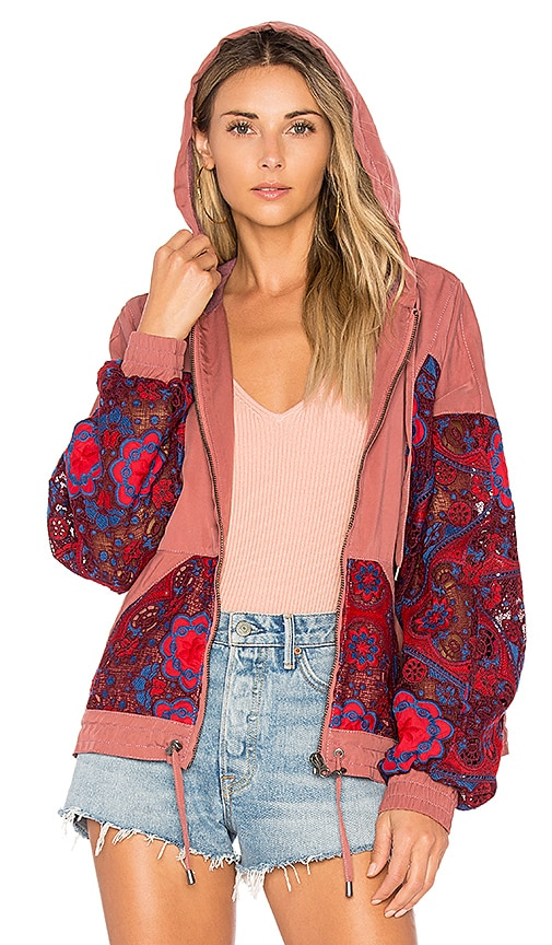 Free People Magpie Oversize Lacey Jacket in Rose
