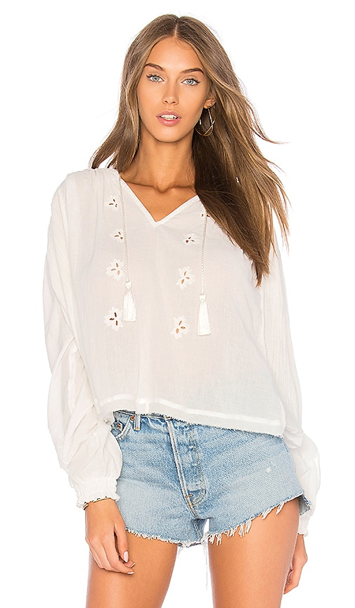 Free People Tropical Summer Hooded Top in White