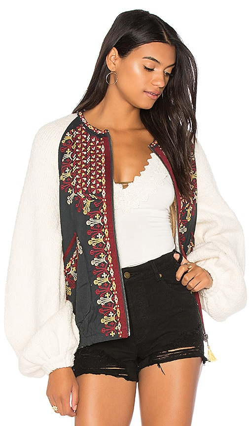 Free People Two Faced Embroidered Jacket in White
