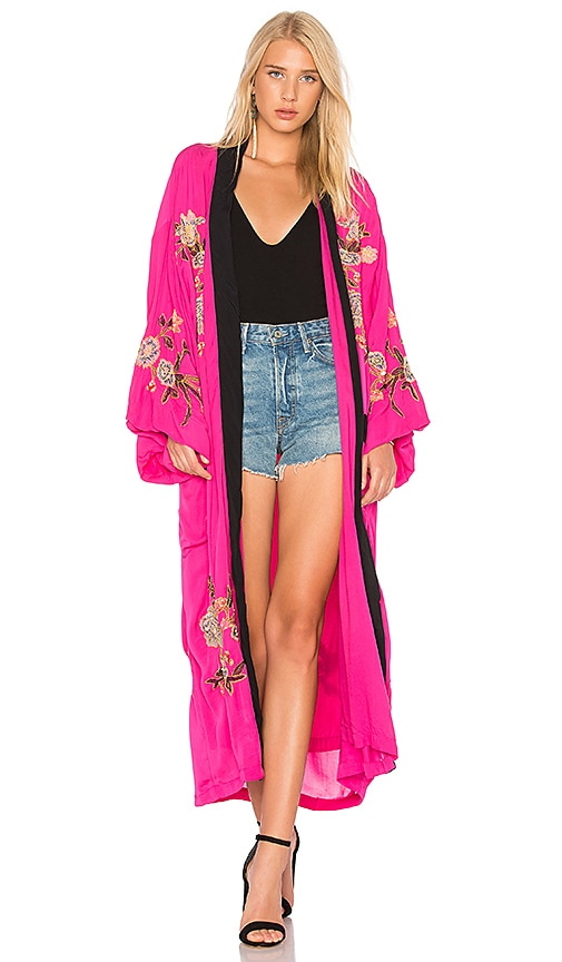 Free People Floral Embroidered Kimono in Pink