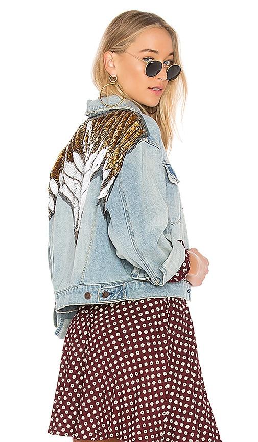 Free People Glam Embellished Denim Jacket in Indigo Blue