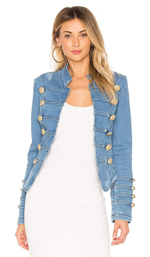 Free People Fitted Military Denim Jacket in Indigo Blue