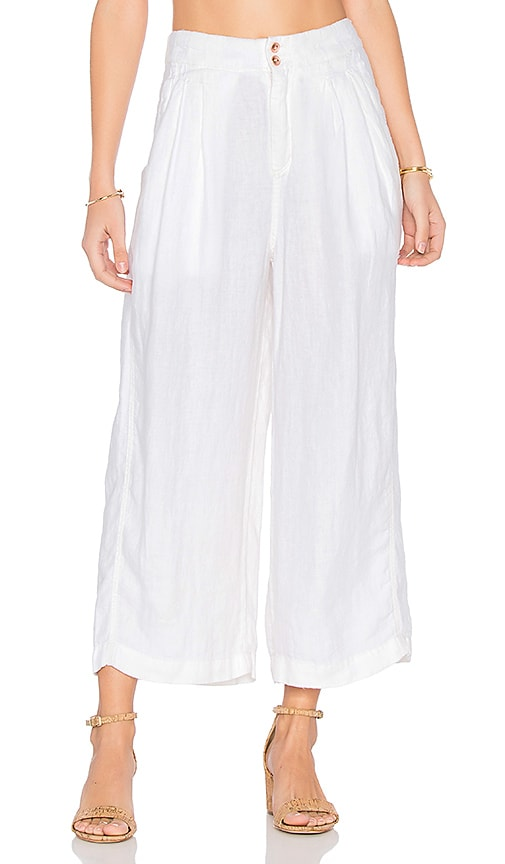 Free People Nomad Linen Trouser in White