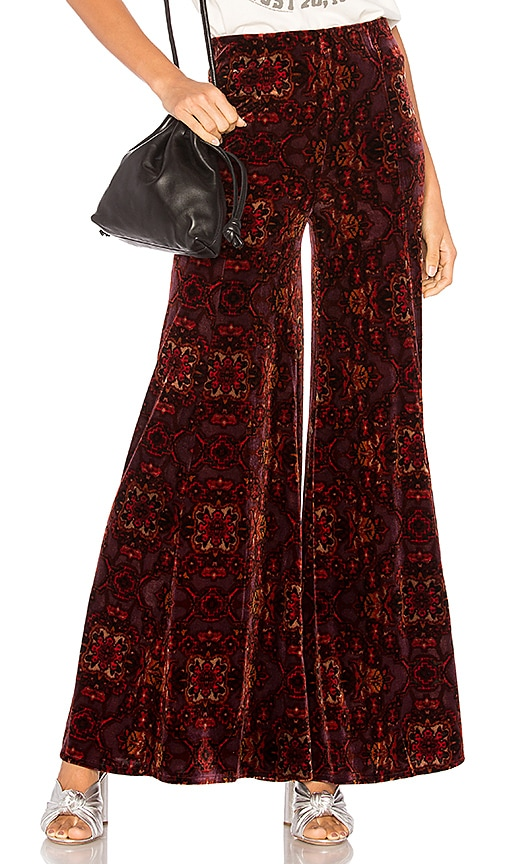 free people lovin feeling velvet wide leg pant in red revolve