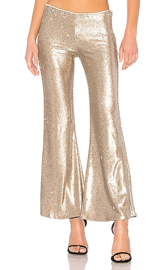 Free People The Minx Sequin Flare Pant in Metallic Gold