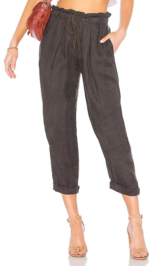 Free People Only Over You Linen Trouser in Charcoal