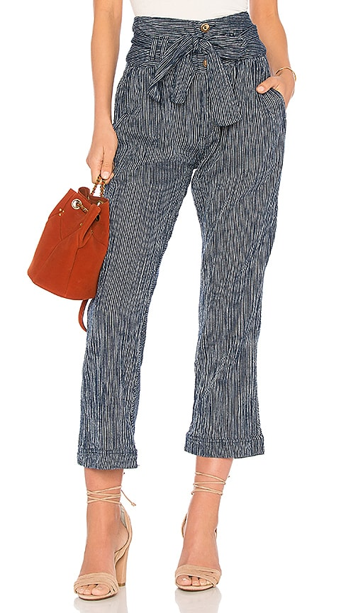 Free People Rumors Yarn Dye Harem Pant in Navy