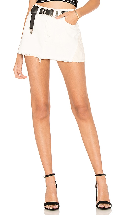 Free People Patched Denim Mini Skirt in Ivory