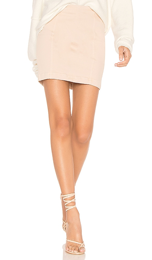 Free People Modern Femme Denim Mini Skirt in Beige