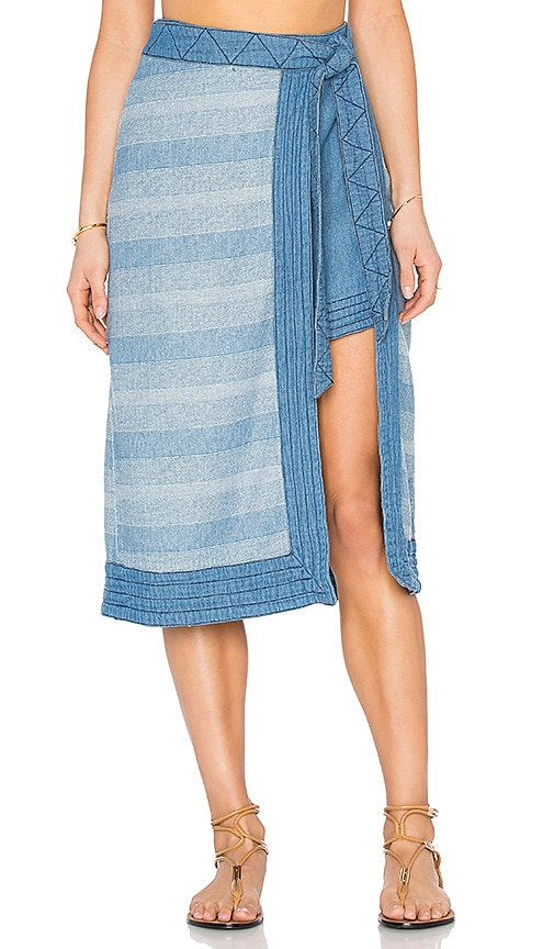 Free People Double the Fun Skirt in Blue