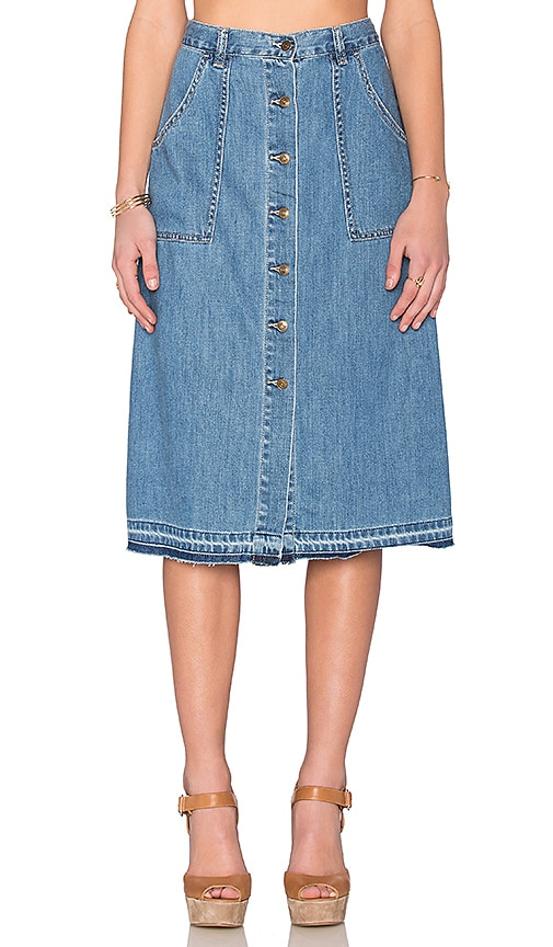 Free People Making Me Crazy Skirt in Sky Blue Wash