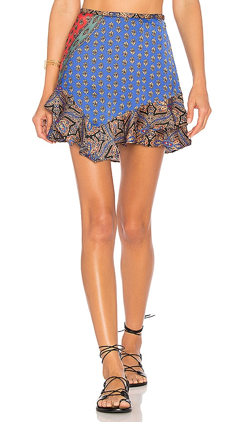 Free People Dance This Way Printed Skirt in Blue