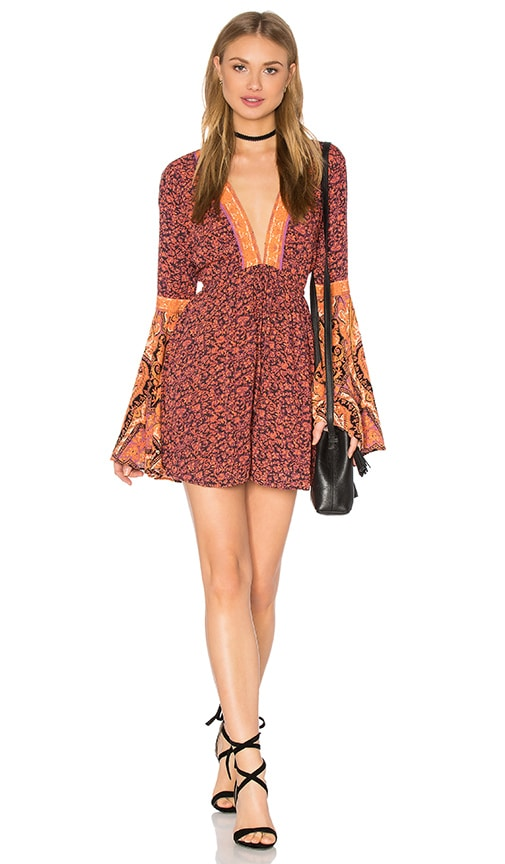 Free People Once Upon A Summertime Romper in Orange