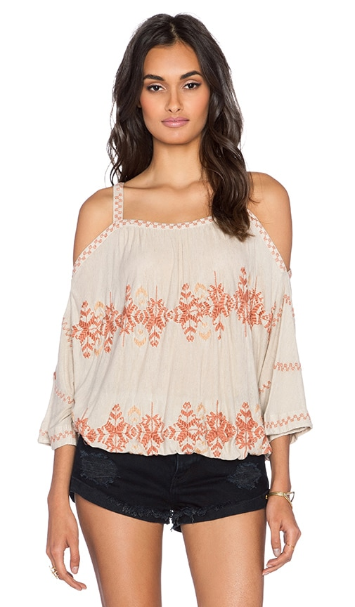 Free People South By Southwest Top in Taupe