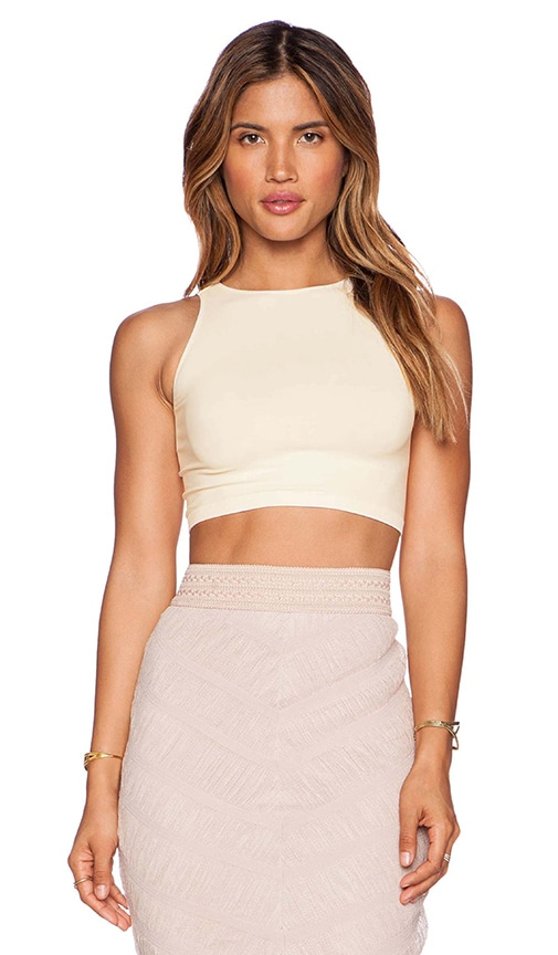 Free People Bella Coach Crop Top in Ivory