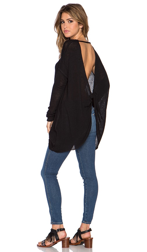 Free People Shadows Hacci Twist Back Top in Black Combo