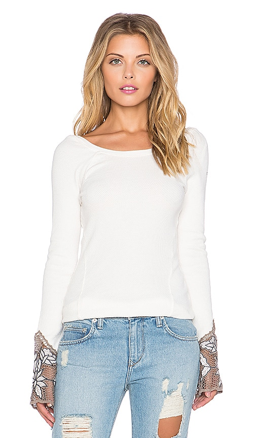 Free People Bali Babe Cuff Tee in Ivory