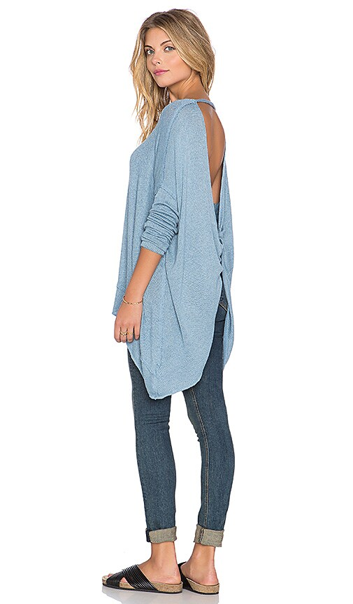Free People Shadows Hacci Twist Back Top in Sky Blue Combo