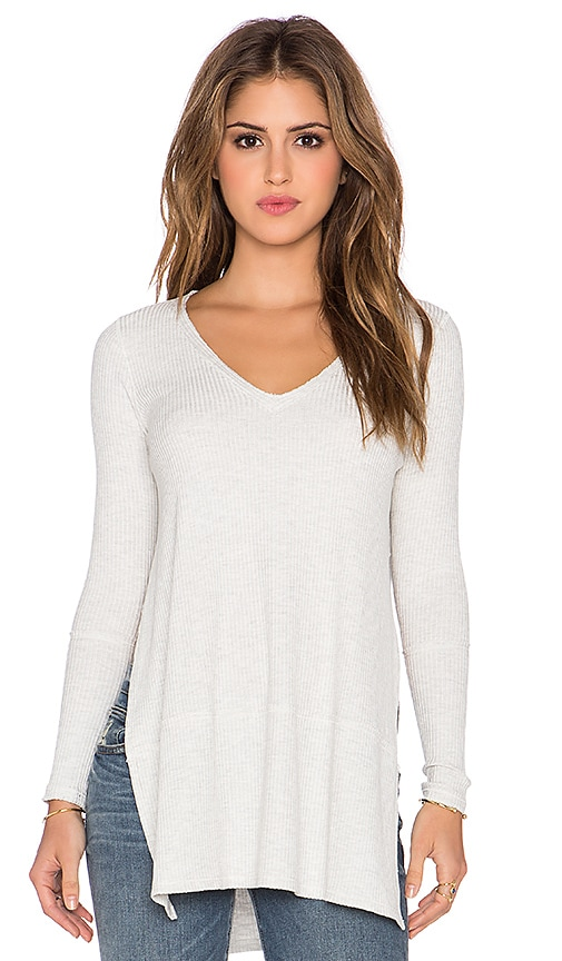 Free People Tuesday Long Sleeve Top in Light Grey Heather