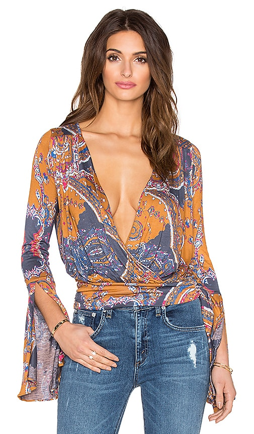 Free People Fiona's Wrap Top in Golden Combo