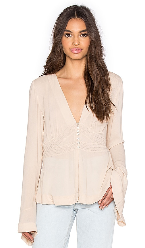 Free People Boho Sleeve Blouse in Blush