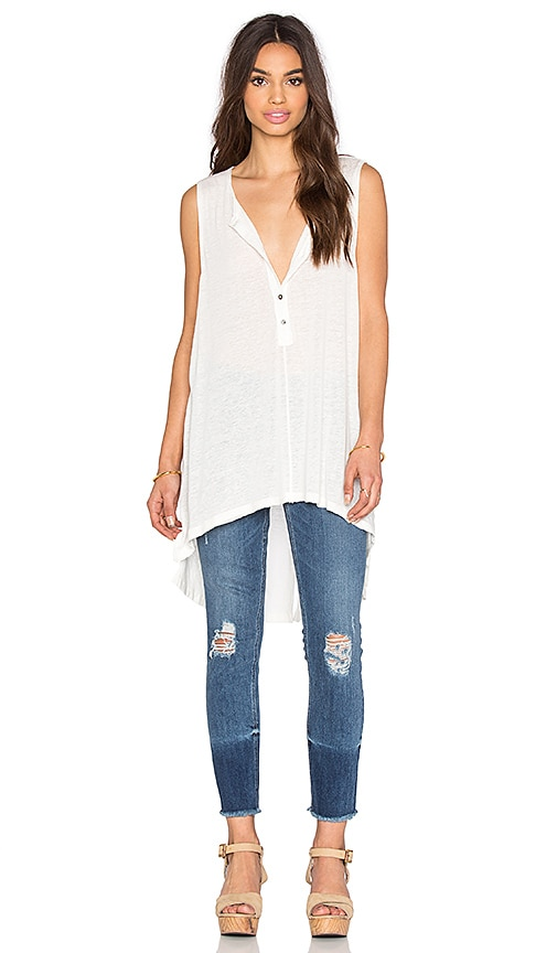 Free People Union Henley Top in White
