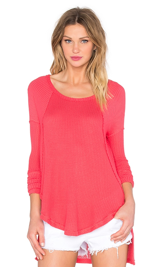 Free People Ventura Thermal Top in Coral