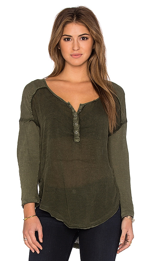 Free People Sunday Henley Top in Green