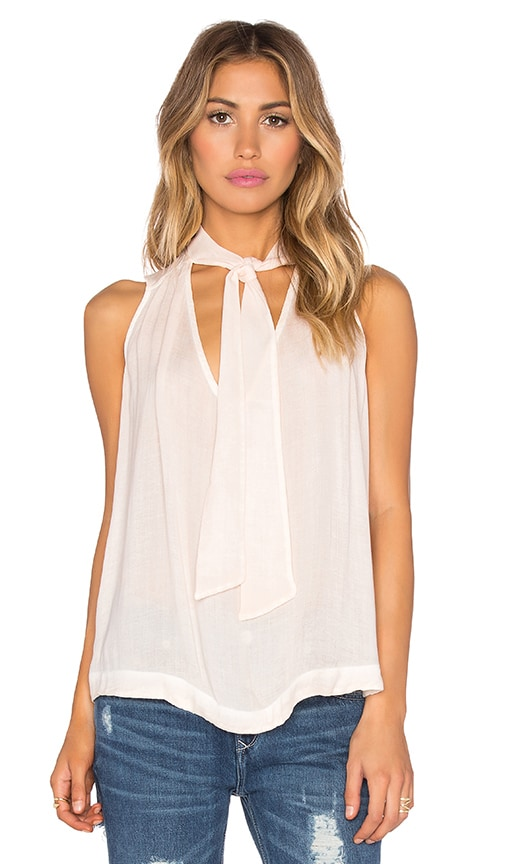 Free People Sleeveless Tie Front Top in Peach