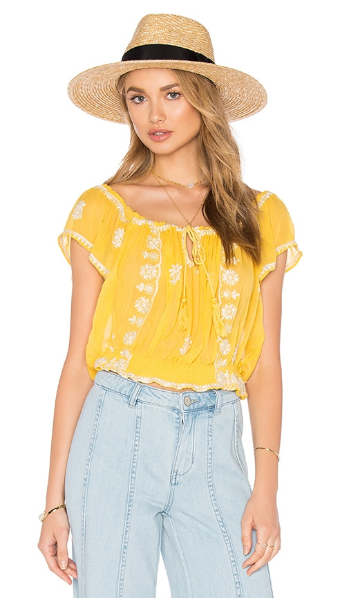 Free People Paisley Park Top in Yellow
