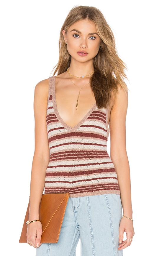 Free People Ditsy Stripe Tank in Tan