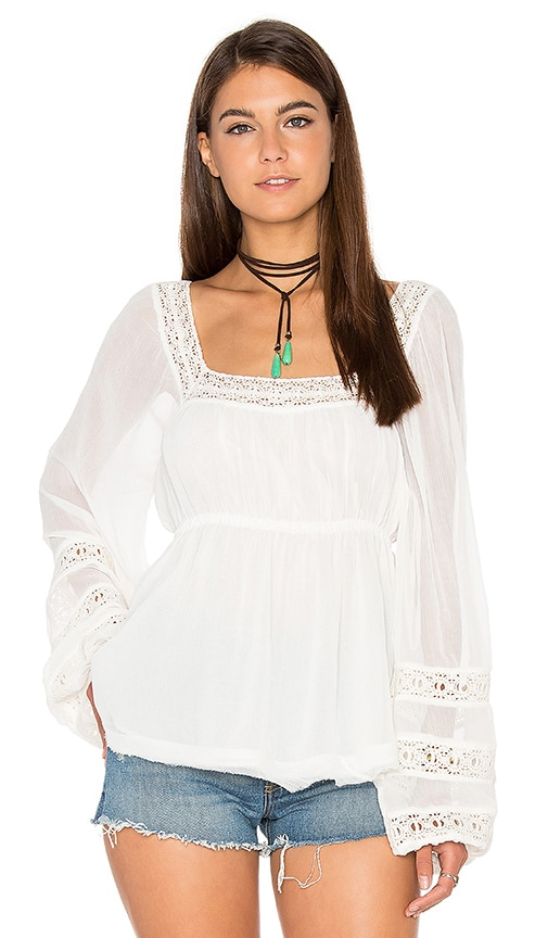 Free People Moonchaser Peasant Top in White
