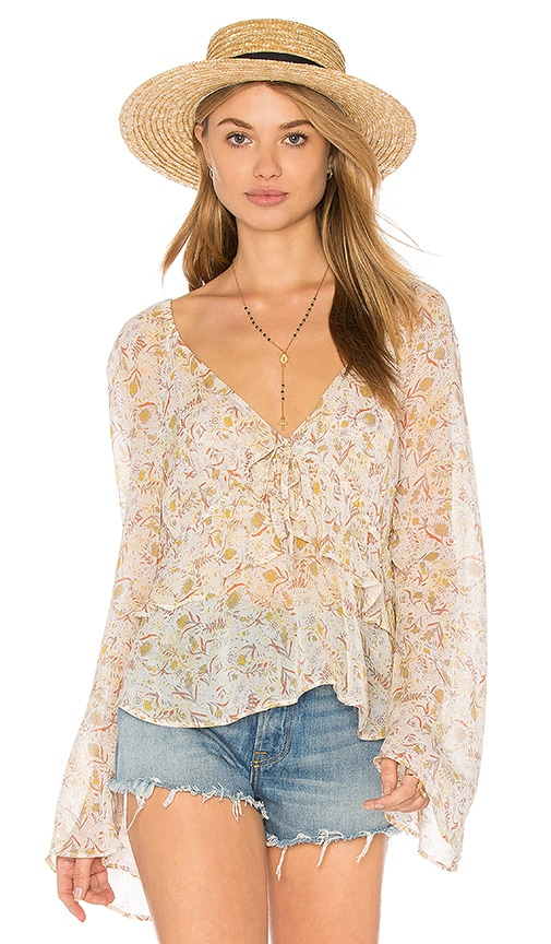 Free People Uptown Bell Sleeve Top in White