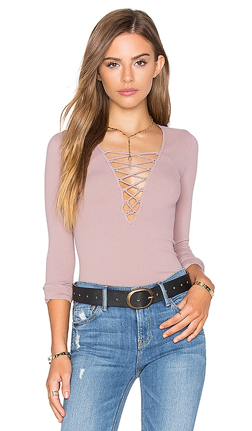 Free People Seamless Lace Up Top in Mauve