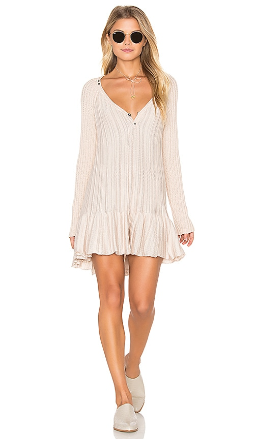 Free People Ribs and Ruffles Top in Beige
