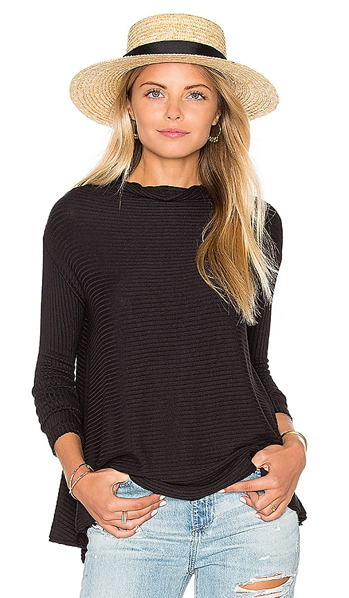 Free People Lover Rib Thermal Top in Black
