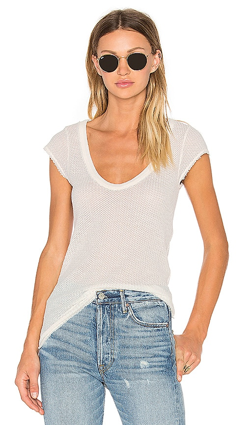 Free People Arthur Waffle Top in Ivory